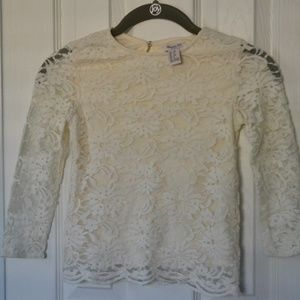 Forever 21 Girls Scalloped Lace Top in Off White